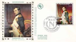 MONACO - 1969 - FDC - Enveloppe Soie Illustrée - Napoléon 1er - FDC