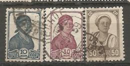 RUSSIE -  Yv N° 611,612A,613A  Sans Fil  (o)  10k,30k,50k   Cote  4  Euro  BE - 1923-1991 UdSSR
