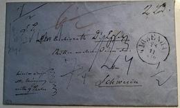 1859 KJOBENHAVN MONEY LETTER RARE COINS> Mecklenburg-Schwerin Via Hamburg(Denmark Cover Brief Numismatics Numismatique - Lettres & Documents