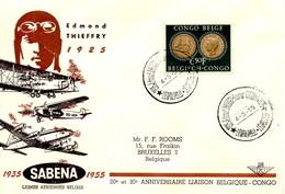 Aérophilatélie-20è & 30è Anniversaire Liaison BELGIQUE-CONGO Par Avion Sabena-cachet De Léopoldville Du 04.03.55 - Airmail