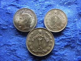 IRAN 1 RIAL 1353/1974 KM1183, 2535/1976 AU KM1205, 2 RIALS 2535/1976 KM1206 - Iran