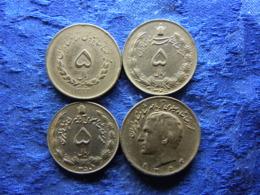 IRAN 5 RIALS 1333/1954 KM1159, 1345/1966 KM1175a, 1350/1971 KM1176, 10 RIALS 1353/1974 KM1179 - Iran