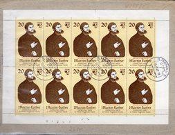 Luther-Ehrung 1982 DDR 2755 Kleinbogen IV Brief 40€ Mit Abart C In Junker Gemälde Cranach Cover Sheetlet Bf Germany - Errori Di Stampa