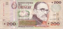BILLETE DE URUGUAY DE 200 PESOS DEL AÑO 2009 (BANKNOTE) - Uruguay