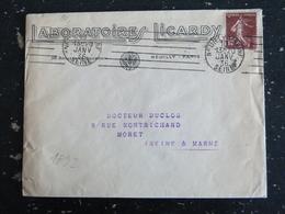 NEUILLY SUR SEINE - HAUTS DE SEINE - FLAMME MUETTE SUR SEMEUSE - ENTETE LABORATOIRE LICARDY - Marcophilie (Lettres)