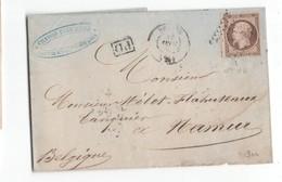 Entier Postal - France - Napoleon Nr. 16 - 40 Cent - Namur - Chanson Pere & Fils - Paris A Calais - Namur 18 SEPT 1859 - Ganzsachen