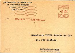 Lettre Flamme  EMA  Havas C 1952 Entreptise Genie Civil & Travaux Public 62 Lens  C24/14 - EMA (Print Machine)
