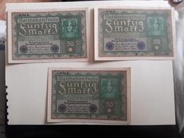 X3 Billets 50 Sunfzig Mark (comme Neuf) - [ 3] 1918-1933 : Repubblica  Di Weimar