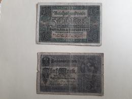 X2 Billets Zehnmark 10, 5, 1917 - [ 3] 1918-1933 : Repubblica  Di Weimar