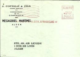 Lettre   EMA  Havas C 1957 Coudray & Fils Messagerie Maritime  Alger Algerie C24/27 - Postmark Collection (Covers)