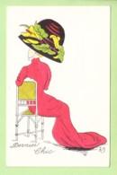 HOP : Dernier Chic - Femme De Dos Dans Sa Longue Robe Rouge Sous Un Immense Chapeau Décoré - BE - 2 Scans - Künstlerkarten