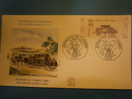 Enveloppe Historique F.D.C.,n.°1631,année 1989,Diligence Paris Lyon,format 16X9 Cm,superbe état,envoi En Lettre économiq - FDC