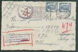 50c. Lion Sceau De L'Etat (x2) Obl. Dc BRUXELLES 3 (Schaerbeek) Sur Carte Du 2-8-1940 Vers Prisonnier De Guerre Lager (o - Guerre 40-45