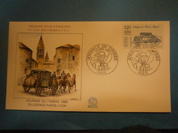 Enveloppe Historique F.D.C.,n.°1630,année 1989,Diligence Paris Lyon,format 16X9 Cm,superbe état,envoi En Lettre économiq - FDC