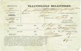 Geel/ Gheel. Plaatselijke Belastingen. Dienstjaar 1874. - Documents Historiques