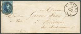 N°11A - Médaillon 20 Centimes Bleu, Bien Margé, Obl. P.102 Sur Enveloppe De ROULERS Le 2 Avril 1858 Vers Berchem-lez-Aud - 1858-1862 Medallones (9/12)