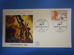 Enveloppe Historique F.D.C.,n.°1570,année 1989,Philexfrance 1989 La Liberté,format 16X9 Cm,superbe état,envoi En Lettre - FDC