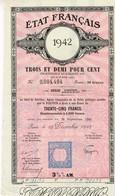 Titre Ancien - Etat Français - Dette Publique - 1942 3 1/2 % Amortissable - Titre De 1000 Francs - - Actions & Titres