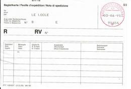 Bahnpost/Ambulant Spécial Par Ordinateur. Begleitkarte/Feuille D'expédition/Nota Di Spedizione - Bahnwesen