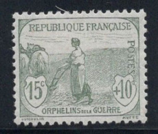 France 1917 Yv. 150 Neuf * 100% 15 C, Orphelins De Guerre - Frankreich