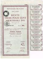 Titre Ancien - République Française - Dette Publique - Rente 3 %  1945  Amortissable - Titre De 1000 Francs - - Actions & Titres