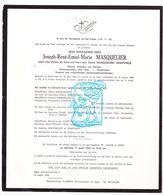 DB Pastoor Klerken Vinkem Kortrijk ZEH Joseph Masquelier ° Poperinge 1892 † Ieper 1969 / Kempynck Leraar Oostende Menen - Overlijden