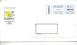 Lettre Machine Bouxieres Entete Ville Pompey - Postmark Collection (Covers)