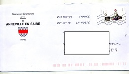 Lettre Flamme Chiffrée Entete Mairie Anneville En Saire - Mechanical Postmarks (Advertisement)