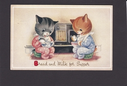 Cat Card -  Bread And Milk For Supper. - Gatos
