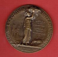 MEDAILLE REIMS EXPOSITION INTERNATIONALE 1918 CITE MARTYRE 1928 REIMS MAGNIFIQUE CATHEDRALE GRAVEUR LEON MARGOTIN - Altri