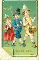 Relief - Gaufrée - Embossed - Prage - 3 Enfants - TBE Superbe - Enfants