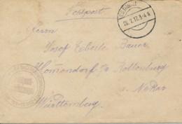 Lettre En Franchise 28.2.17 Feldpost 254 Ballon Abwehr Kanonnen - Zug 33 - Canons Anti Aérien - Zeppelins