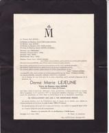 GENAPPE LOUPOIGNE Marie LEJEUNE Veuve Docteur MINNE  1871-1952 Famille DEFALQUE - Décès