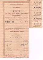 Titre Ancien - République Française - Dette Publique - Rente 4 % 1941-60  Amortissable - Titre De 100 Nouveaux Francs - - Actions & Titres