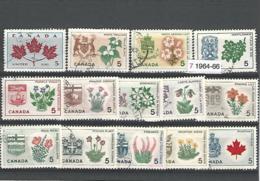 33834r ) Canada Collection Commemoratives 1964 1965 1966 Provincial Flowers & Coat Of Arms Set Complete - 1952-.... Regno Di Elizabeth II