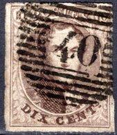 """N° 10A Oblitération """"Perception P40"""" De FLORENNES -  Cote NIPPA 20,00 € - 1858-1862 Medallions (9/12)"""