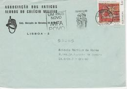 Mechanical Meter , Slogan Postmark , 1976 , UM PAÍS NOVO MFA POVO , Assc. Alunos Colégio Militar  Envelope - Postmark Collection