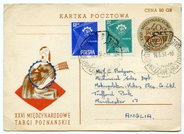 KARTA POCZTOWA : XXVI MIEDZYNARODOWE TARGI POZNANSKIE, 1957 - FDC