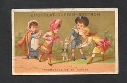 Chromo Doré Lith  Vieillemard Et Fils - CHOCOLAT GUERIN-BOUTRON  ''Promenade De Ma Poupée'' 6,4x10,6 PERFETTA - Guerin Boutron
