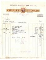 "ARGENTEUIL FACTURE   "" DENREES ALIMENTAIRES En GROS ""  CHARLES THOMAS  1949 - France"