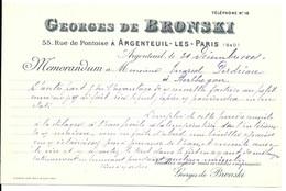 ARGENTEUIL  FACTURE    GEORGES DE BRONSKI   1908 - France