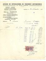 """ARGENTEUIL  FACTURE """" ATELIER DE REPARATIONS AUTOMOBILES """"   EMILE TERRIER   1942 - France"""