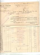 Facture Alimentaire Potin Paris 1912 - Alimentare