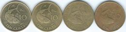 Seychelles - 10 Cents - 1981 (KM44) 1982 (KM48.1) 2007 (KM48.2) 2007 (magnetic - KM48a) - Seychellen