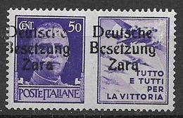 REGNO D'ITALIA 1942 OCCUPAZIONE TEDESCA DI ZARA FRANCOBOLLI D'ITALIA SOPRASTAMPATI SASS. 22  MNH XF+++++++++ - Non Classés