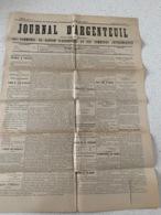 ARGENTEUIL  Journal D'ARGENTEUIL  Journal Indépendant Des Communes Du Canton D'Argenteuil 1896 - Documents Historiques