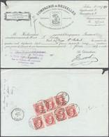 """Grosse Barbe - N°74 X7 Au Verso D'un Effet De Commerce """"Compagnie De Bruxelles"""" Obl SC Louvain (1909) - 1905 Barba Grossa"""