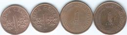 Singapore - 1 Cent - 1977 (KM1) 1982 (KM1a) 1986 (KM49) & 1995 (KM98) - Singapore