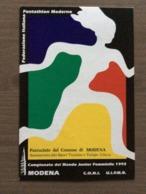 """Cartolina Ufficiale """"Campionato Del Mondo Junior Femminile Pentathlon Moderno"""" Annullo Modena 3-9-1992 - Cartoline"""