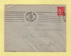 RBV - Paris XVI - Rue Singer - 7 Lignes Droites Inegales - 1937 - Marcophilie (Lettres)